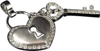 Jewelry Unlimited 10k,White,Gold,Ladies,Round,Diamond,Large,Heart,Key,Love,Pendant,Charm,1,Ct