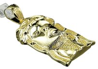 Jewelry Unlimited ,Mens,Yellow,Gold,Finish,Canary,Diamond,Jesus,Face,Piece,Pendant,Charm,.75,Ct