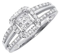 Jewelry Unlimited 10k,White,Gold,Ladies,Princess,Round,Diamond,Halo,Engagement,Wedding,Ring,0.33ct
