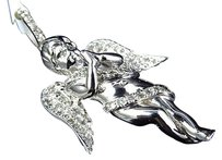 Jewelry Unlimited 10k,White,Gold,Genuine,Diamond,Icy,3d,Ribbon,Angel,2,Pendant,Charm,1.0ct