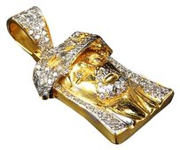 Jewelry Unlimited Genuine,Diamond,Hand,Made,Jesus,Piece,Pendant,Charm,In,10k,Yellow,Gold,1.5,2ct