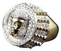 Jewelry Unlimited Mens,10k,Yellow,Gold,Round,Cut,Pave,Genuine,Diamond,Jesus,Piece,Pinky,Ring,2.0ct