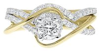 Jewelry Unlimited 14k,Yellow,Gold,Round,Solitaire,Diamond,Crossover,Engagement,Wedding,Ring,0.95ct
