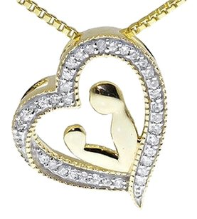 Jewelry Unlimited 10k,Yellow,Gold,Genuine,Diamond,Heart,Mother,Child,Slide,Pendant,Charm,110,Ct