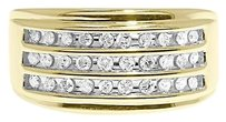 Jewelry Unlimited 10k,Yellow,Gold,Mens,3,Row,Round,Diamond,11.5mm,Wedding,Fashion,Band,Ring,12,Ct