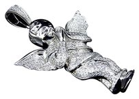 Jewelry Unlimited Iced,Out,10k,White,Gold,Genuine,Diamond,Prayeing,Angel,Pendant,Charm,1.50ct