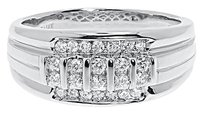 Jewelry Unlimited 14k,White,Gold,Mens,10mm,Vertical,Round,Diamond,Wedding,Fashion,Band,Ring,0.47ct
