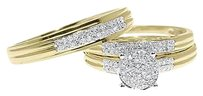 Jewelry Unlimited 10k,Yellow,Gold,Pave,Diamond,Round,Engagement,Bridal,Wedding,Trio,Ring,Set,12ct