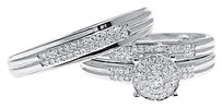 Jewelry Unlimited 10k,White,Gold,Pave,Diamond,Round,Engagement,Bridal,Wedding,Trio,Ring,Set,12,Ct