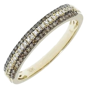 Jewelry Unlimited 10k,Yellow,Gold,Womens,Brown,White,Pave,Diamonds,3mm,Fashion,Band,Ring,0.39,Ct