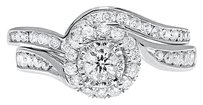Jewelry Unlimited 14k,White,Gold,Ladies,Round,Solitaire,Diamond,Bridal,Engagement,Ring,Set,0.77ct