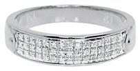 Jewelry Unlimited 10k,White,Gold,Mens,Three,Row,Pave,Round,Diamond,5.5mm,Fashion,Band,Ring,0.25,Ct