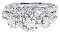 Jewelry Unlimited 14k,White,Gold,Ladies,3,Stone,Halo,Diamond,Engagement,Bridal,Ring,Set,1.50,Ct