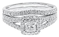 Jewelry Unlimited 14k,White,Gold,Ladies,Princess,Solitaire,Diamond,Bridal,Wedding,Ring,Set,1,Ct