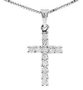 Jewelry Unlimited 14k,White,Gold,Mens,Ladies,Round,Diamond,Prong,Mini,Cross,Pendant,Charm,0.50,Ct