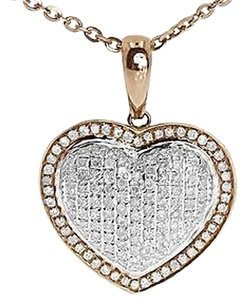 Jewelry Unlimited 10k,Rose,Gold,Ladies,Round,Pave,Diamond,Puffed,Mini,Heart,Pendant,Charm,1,Ct
