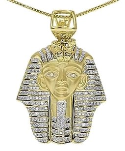 Jewelry Unlimited Yelllow,Gold,Finish,Round,Diamond,Egyptian,Pharaoh,King,Tut,1.3,Pendant,1.25,Ct