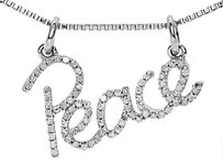 Jewelry Unlimited 10k,White,Gold,Ladies,Round,Prong,Diamond,Peace,Script,Pendant,Charm,0.40,Ct