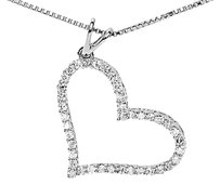 Jewelry Unlimited 14k,White,Gold,Ladies,Round,Diamond,Slant,Heart,1,Inch,Pendant,Charm,0.50,Ct
