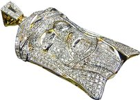 Jewelry Unlimited 10k,Authentic,Natural,Diamond,Yellow,Gold,Finish,Mini,Jesus,Pendant,1.7,2.2ct