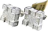 Jewelry Unlimited Mens,Ladies,10k,White,Gold,Vs,Diamond,Pave,3d,Cube,Square,Stud,Earrings,2.5,Ct