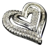 Jewelry Unlimited Ladies,White,Gold,Finish,Round,Cut,Diamond,Heart,Love,Charm,Pendant,.53,Ct