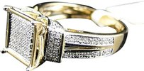 Jewelry Unlimited Ladies,Yellow,Gold,Finish,Round,Cut,Pave,Diamond,Fashion,Engagement,Ring,12,Ct