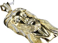 Jewelry Unlimited Large,Yellow,Gold,Vs,White,Diamond,Xl,Jesus,Face,Piece,Head,Pendant,3.5,Inch