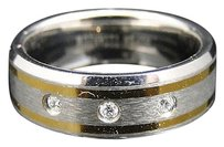 Jewelry Unlimited Mens,Two,Tone,Titanium,Faceted,Wedding,Engagement,Diamond,Band,Ring,8,Mm