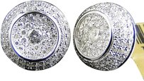 Jewelry Unlimited Mens,Ladies,10k,White,Gold,Round,Dome,11,Mm,Diamond,Pave,Stud,Earrings,1.55,Ct