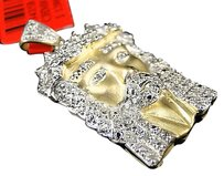 Jewelry Unlimited Mens,Yellow,Gold,Finish,Jesus,Face,White,Diamond,Pendant,Charm,.30,Ct