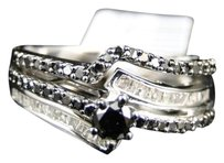 Jewelry Unlimited Ladies,White,Gold,Finish,Black,Diamond,Solitaire,Engagement,Wedding,Ring,.73,Ct