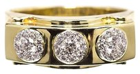 Jewelry Unlimited 14k,Yellow,Gold,Mens,Three,Stone,Cluster,Diamond,Wedding,Anniversary,Band,Ring