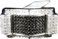 Jewelry Unlimited Mens,Black,And,White,Diamond,Ring,In,White,Gold,Finish,Over,Sterling,Silver