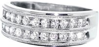 Jewelry Unlimited 14k,White,Gold,Mens,Ladies,Two,Row,Round,Diamond,7.5mm,Wedding,Band,Ring,0.50ct