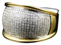 Jewelry Unlimited Mens,Yellow,Gold,Finish,White,Diamond,Engagement,Designer,Dome,Band,Pinky,Ring