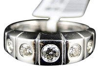 Jewelry Unlimited 14k,Womens,White,Gold,Diamond,7,Mm,Wedding,5,Stone,Round,Band,Ring,12,Ct