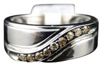 Jewelry Unlimited Mens,White,Gold,Finish,Cognac,Diamond,Wedding,Band,Ring,.25,Ct