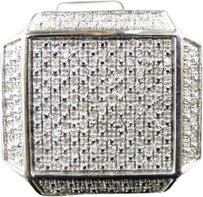 Jewelry Unlimited ,Mens,White,Gold,Finish,Real,Diamond,Xl,Pinky,Fashion,Square,Ring,0.53,Ct