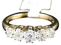 Jewelry Unlimited 14k,Ladies,Yellow,Gold,5,Stone,Flower,Cluster,Diamond,Engagement,Wedding,Ring