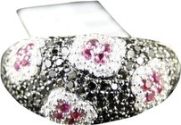 Jewelry Unlimited Ladies10k,White,Gold,Blackwhitepink,Diamond,Saphire,Flower,Fashion,Ring,Band