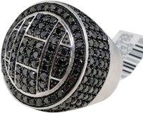 Jewelry Unlimited Mens,Black,Diamond,Ring,In,White,Gold,Finish,Pave,Set,Pinky,Band,Ring,4.49,Ct