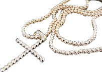 Jewelry Unlimited Mens,1,Row,Rose,Pink,Gold,Diamond,Tennis,Chain,With,Matching,Diamond,Cross,15,Ct