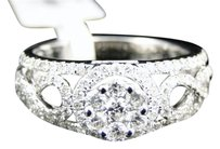 Jewelry Unlimited Ladies,14k,White,Gold,Round,Diamond,Cluster,Wedding,Engagement,Band,Ring,1,Ct