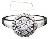 Jewelry Unlimited Ladies,White,Gold,Finish,Round,Cut,Diamond,Cluster,Engagement,Wedding,Band,Ring