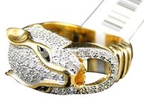 Jewelry Unlimited Yellow,Gold,Finish,Diamond,Panther,Desinger,Fashion,Pinky,Ring,1,Ct