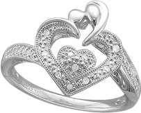 Jewelry Unlimited .925,Silver,Genuine,Round,Diamond,Pave,Heart,Engagement,Promise,Proposal,Ring
