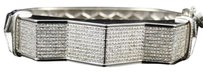 Jewelry Unlimited Mens,White,Gold,Finish,Genuine,Diamond,Fashion,Designer,Bracelet,Bangle,3.5,Ct