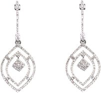 Jewelry Unlimited 10k,White,Gold,Ladies,Pave,Diamond,38mm,Dangle,Chandelier,Drop,Earrings,1.0,Ct