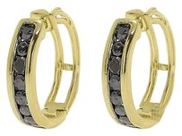 Jewelry Unlimited Yellow,Gold,Finish,Black,Channel,Diamonds,15mm,Round,Hoop,Huggie,Earrings,0.50ct
